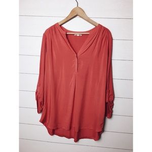 Pleione | Coral Button Popover Blouse
